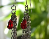 Gunmetal Chain Dangle with Ruby Colored Glass Bead CLEARANCE