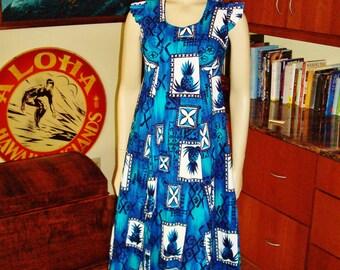 Vintage 60s Hawaiian Dress by Hukilau Fashions Barkcloth Pineapple  - S - The Hana Shirt Co