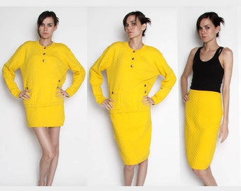 Vintage Adrienne Vittadini Lemon Yellow Diamond Patterned 2 Piece / Quilted Pattern / Sweater / Pencil Skirt / Spring