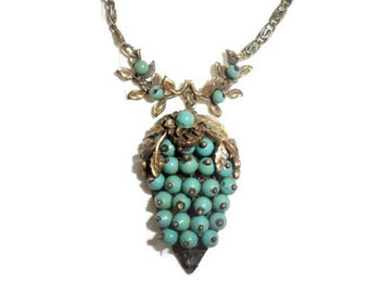 SALE - Vintage Brass and Glass Beaded Necklace - Turquoise, Robin-Egg Blue - Early 20th Century Estate Treasure
