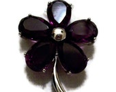 Amethyst Gemstone Flower - Sterling Silver Pendant - February Birthstone