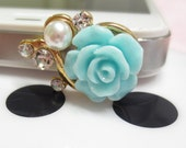 Mint Green Rose Pearl Jack Dustproof Universal Plug Ear Anti Dust Cap for Iphone 4, Iphone 4s, Iphone 5, Ipad, Galaxy