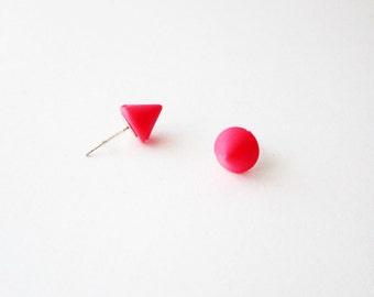 Neon pink spike stud earrings, Neon pink small cone post earrings, Neon pink earing studs, Small pink earrings, Plastic pink earring studs