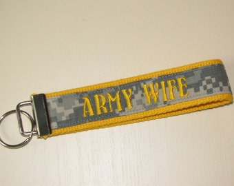 ARMY WIFE Key Fob Yellow ~ Nametape Wristlet