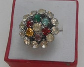Great Gatsby Girl Multi Colored Old Rhinestone Dinner Cocktail Ring or Just for fun Ring Size 4