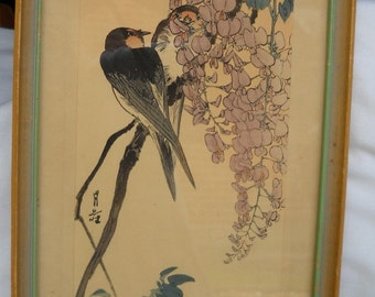 Japanese woodblock print yoshimoto gesso swallow on for Kitchen yoshimoto summary