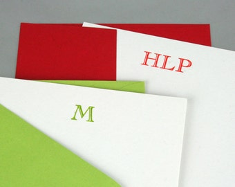 Custom Monogram Letterpress Notecards/Stationery - Set of 20 - Cochin Open