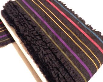Vintage Wide Black Ruffled Elastic with Colorful Stripes, Wide Belt Elastic, Colorful Elastic, Striped Elastic