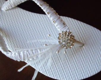 White Bridal flip flops - White ribbon  in macrame with Swarovski Crystals-Macrame Collection-White-002