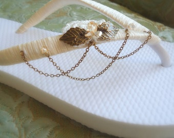 Vintage Chain Flip Flops. Adorned with Swarovski Bicones, cooper leaves and lace. Bridal flip flops. NEW 2013 -Vintage chain Collection 01-