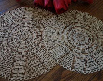 Doilies Set of Two Round Hand Crochet Vintage