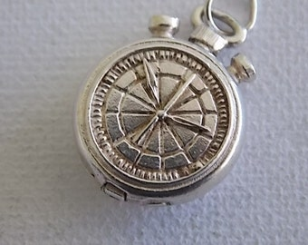 Vintage Silver Stopwatch  Charm Opens to Sportsman