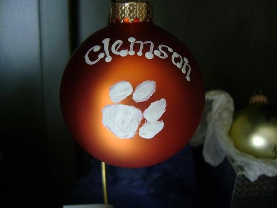 Clemson Tigers Christmas Ornament Tiger Paw On Orange Ornament
