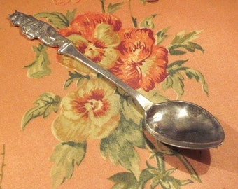 Antique Alpacca Figural Spoon with a Bear