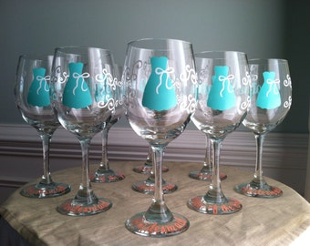 6 Tiffany Inspired Personalized Bride and Bridesmaid Wine Glasses