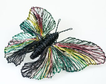 Black butterfly brooch Butterfly jewelry Wire sculpture Large brooch Statement Contemporary jewelry Rainbow Butterfly Mother day gift Insect