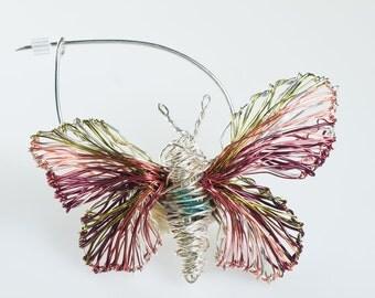 Pink Butterfly brooch pin Butterfly art jewelry Wire jewelry Unusual jewelry Insect brooch Wire sculpture art jewelry Insect jewelry