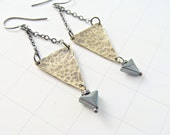 Hammered Pyramid Hematite Triangle Drop Earrings