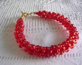 Red Woven Bead Bracelet