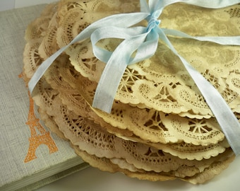 10 inch and 8 inch Paper Doilies. Anthropologie Vintage Wedding Doily. Place Mat. French Lace Gift Wrap. Rustic. Stained Old Fashioned.