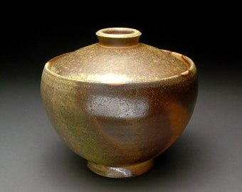 Wood Fired Lidded Bowl with Warm Browns, Grays, and Green Ash Pool Around Foot, Unglazed