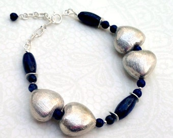 Lapis Lazuli Bracelet - Navy Blue Jewelry - Mother Daughter - Sterling Silver Heart - Gemstone Jewellery