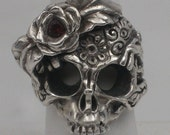 Sterling Silver Engraved  Skull Ring (with out stone) size 9 & 9.5 Ready to Ship!
