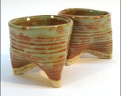 UNIQUE Set of 2 TRIPOT CUPS: High-Fired Stoneware in Shino Green Glaze
