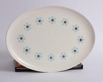 PebbleFord Serving Platter, Mid Century Platter, Daisy Floral Serving Platter, Blue PebbleFord