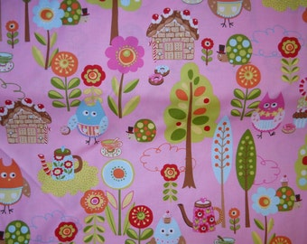 Cherry on Top By Keiki for Moda flowers, trees, cupcakes, owls, and more on light pink 1 yard cotton quilt fabric