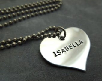 Personalized Heart necklace, hand stamped stainless steel