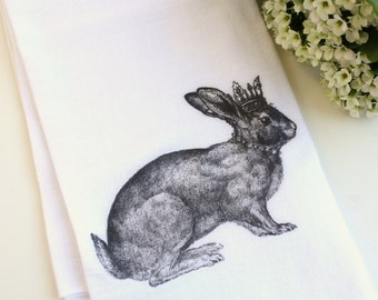 Rabbit Kitchen Tea Towel, Flour Sack Towel, Royal Rabbit, Cotton Kitchen Towel, Hostess Gift, Home Decor, Housewares, Gift Under 20, Crown
