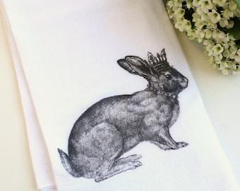 Easter Rabbit Kitchen Tea Towel, Flour Sack Towel, Spring, Rabbit, Cotton Kitchen Towel, Hostess Gift, Home Decor, Housewares, Gift Under 20
