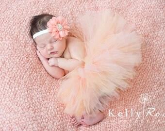 Peach Tutu, Newborn Baby, Flower Headband, Pearl Center, 0-3 Months