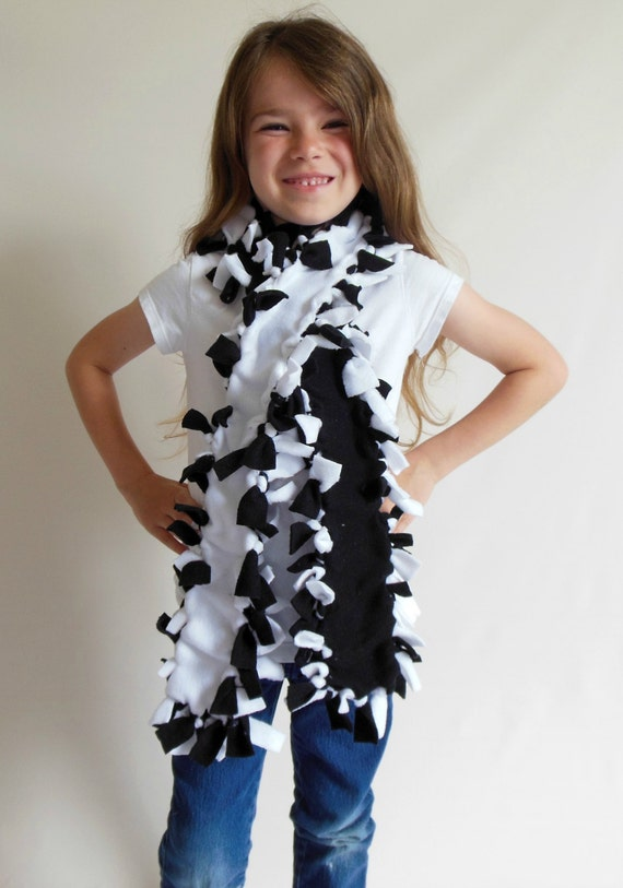 FREE SHIPPING-Child/Teen/Adult Fleece Scarf in Black & White