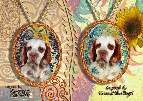 Clumber Spaniel Jewelry Pendant - Brooch Handcrafted Porcelain by Nobility Dogs - Gustav Klimt and Van Gogh Style