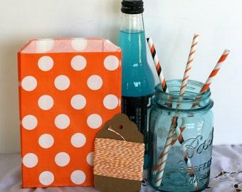 Orange polka dot treat bag, cookie bag, Orange polka dot kraft bag
