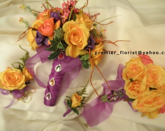20 piece Bridal Bouquet and Wedding Flowers. Hot Tropical Colors.Turquoise Purple Yellow Pink Orange Green. Boutonnieres Corsages