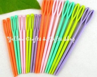 20Pcs Multicolor Plastic Sewing Needles