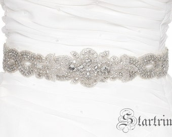 SALE ALIYA Crystal wedding bridal beaded sash , belt