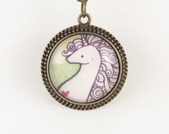 Unicorn Pendant - Bronze Necklace - Art Print Jewelry