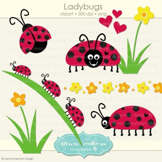 Ladybugs Digital Clip Art Spring Clipart by LanaKoopmanDesign