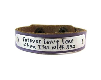 Winnie the Pooh Bracelet - Hand Stamped - Forever Isn't long when I'm with you