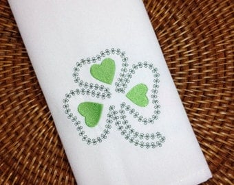 St. Patrick's Day Shamrock Embroidered Cloth Napkins /Set of 4/ St. Patrick's Day Party, Shamrock napkins, Clover napkins, table linens