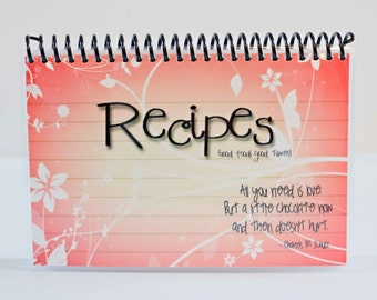 Recipe Book Blank Laminated Journal 4x6 Red Background with White Floral White Pages Ready To Ship