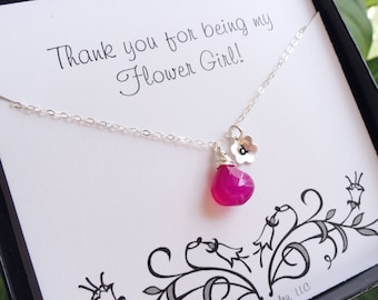 Flower girl birthstone and initial necklace, Personalized flower girl jewelry, wedding gift for flower girls, junior bridesmaids