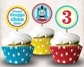 INSTANT DOWNLOAD, Printable Thomas the Train 3rd Birthday Cupcake Toppers, Digital File, Thomas and Friends, 3rd Birthday