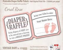 INSTANT DOWNLOAD, Printable Baby Shower Diaper Raffle Tickets, 4x6, Digital File, Vintage Baby, Coral Rose, Pink, Baby Girl