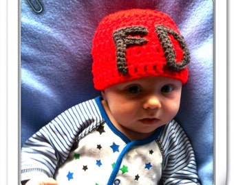 Red fire department hat, 0-3 months