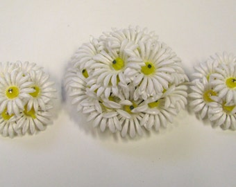 Vintage Plastic Daisy Brooch & Non Pierced Earring Set, Signed Germany and Hong Kong